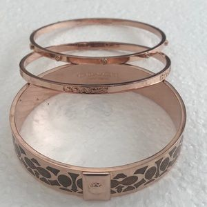 Coach Bangle Rose Gold Bracelet-3pc